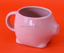 OEM pink color ceramic mugs with pig shape