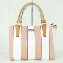 2015 beautiful ladies leather stripe pink and white small handbag Guangzhou supplier