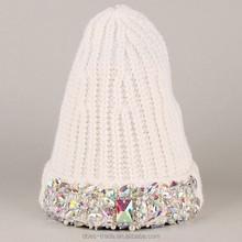 jewel embellished grey fashion beanie/plain knitteie