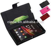 Genuine Real Leather Case Flip Cover Card Slot Wallet for Sony Xperia ZL L35h