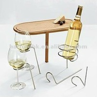 Stick Wood Table with Wine Bottle and Glass Holder.