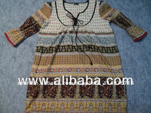 Panel de impresiones kurtis/kurtas de algodón desgaste indio étnico jaipur la mujer kurtis caftanes blusa de maya