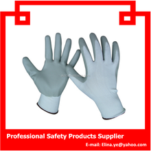 13G Nitrile Safety Gloves With white Nylon Grey Nitrile glove ,Hand Working Gloves