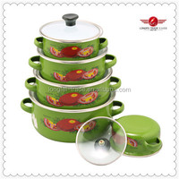 5PCS Green Decal Enamel Cookware Set ,Enamel Pot,Enamel Casserole