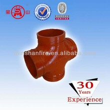 grooved cross pipe for oil pipeline link system