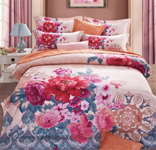 Peony Flower Design 100% Polyester or Cotton Bedroom Bedding Set 4 Pieces China