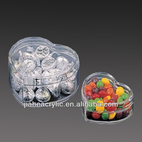 customised durable clear heart shaped acrylic clear plastic candy box