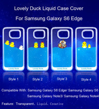 3D Floating Duck Cartoon Design Transparent Hard Case Cover For Samsung Galaxy S6 Edge Case