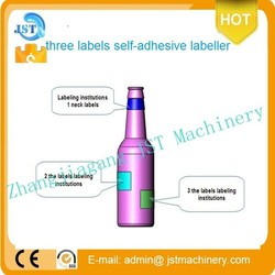 Quality Assurance TBJ-100T automatic beer and wine bottle adhesive three labels plant