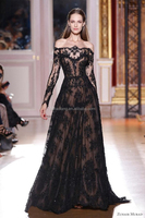 2014 Sexy zuhair murad Long Sleeves Prom Dresses Lace Black Evening Dresses Celebrity Dresses