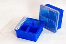 """NEW High Food Grade King Cube Ice Tray with Lid, 4 Cavies Premium Silicone Mold for 2"""" Large Square Ice Cube"""
