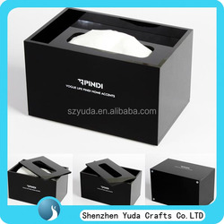 elegent black acrylic tissue box acrylic material napkin box paper holder for hotel