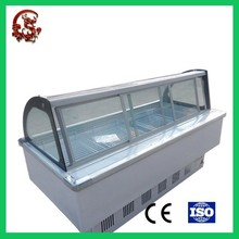 Supermarket fruit and meat display showcase glass refrigerator