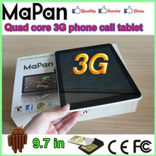 3g tablet pc quad core alibaba china 9.7 inch dual sim card gsm phone call with gps