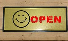 golden foil door open signs