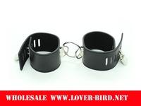 Men's black leather gloves binding instrument handcuffs leg irons plush female adult sex toys