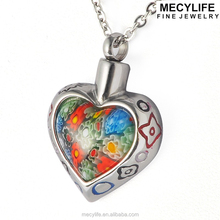 MECY LIFE Stainless steel Murano glass flowers the colorful heart-shaped Family Pet Memorial ash urn Pendant
