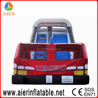 Fire truck inflatable dry slide,commercial inflatable slide