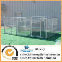 5'X10' galvanized steel tubing dog kennel with fight guard divider and 3 dog runs