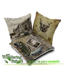Cushion Cover Home Decorative Throw Pillows Cotton Linen Pillowcase Flower Retro New York car Cushion Cover