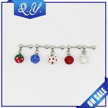 New arrival fashion shinning colorful ear crystal studs with ball stud joint