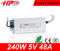 Good quality Rainproof Case led strip power supply factory provide single output constant voltage 240w 5v dimmable led driver