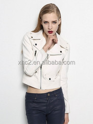 Wholesale white short Bodycon Lapel Casual Motorcycle racing PU Leather Jacket
