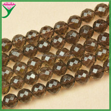 14mm AAA grade Natural Smoky Quartz Faceted Round Loose beads