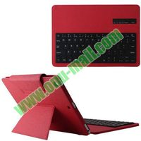 Detachable Red Bluetooth Keyboard Leather Case for iPad Air with Holder