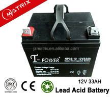 solar accumulator 12v 33ah maintenance free lead acid battery with good quality