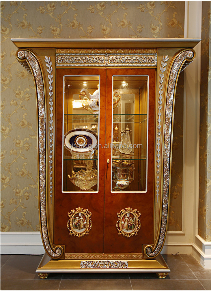 Luxury French Louis Xv Style Golden Single Door Curio Cabinet