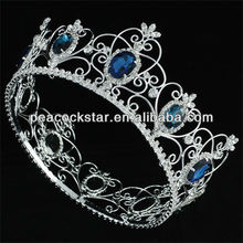 Wholesale Pageant Full Circle Tiara Simulated Blue Sapphire King / Queen Crown CT1720