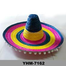 Grande tira de paja Sombrero Sombrero mexicano para el partido Amigo vestido de lujo