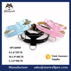 Fashional shape weighted large leather firm pet dog harness soft