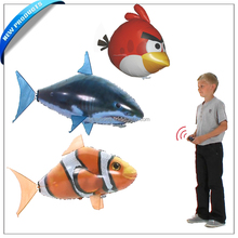 Hot Remote control Inflatable toy air flying white shark air flying clownfish toy swim in the air fish great fun for kids