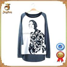 Hot Sale Fashionable O-neck Cotton Long Sleeve Custom Women T Shirt