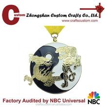 Custom China dragon metal medal ribbon/wholesale trophy