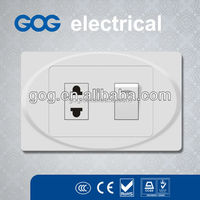 USA Standard electrical wall switch and socket 2 pin plug socket and 1 gang switch