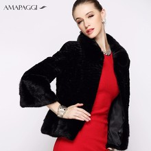 black female Winter short Rex Rabbit Fur coat