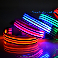 Fashion Stripe Pattern Retracable Dog Collar LED For Glowing In The Dark