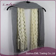 Moda de invierno cálido mezcla de lana bufanda tejida a mano