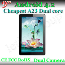 CE FCC RoHS verify Dual Core Dual Camera 9'' A23 android 4.2 tablet pc with factory wholesale price