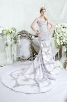 Luxury bridal gowns made to measures RW1518 cap sleeve sweetheart crystal beaded mermaid bling bling wedding dresses 2015