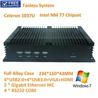 2014 New Fanless Mini IPC Home Computer With 2GB DDR3 80GB HDD Intel Celeron 1037U Support 3D Game XBMC DX 11 Ubuntu Portable PC