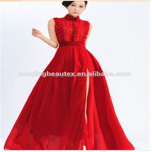 2015 nouveau revers posé side de split robe chemise en dentelle, Cultiver sa robe de moralité