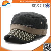 custom hemp material OEM fashion military cap pattern/wholesale high quality flat top plain military hats with leather strap
