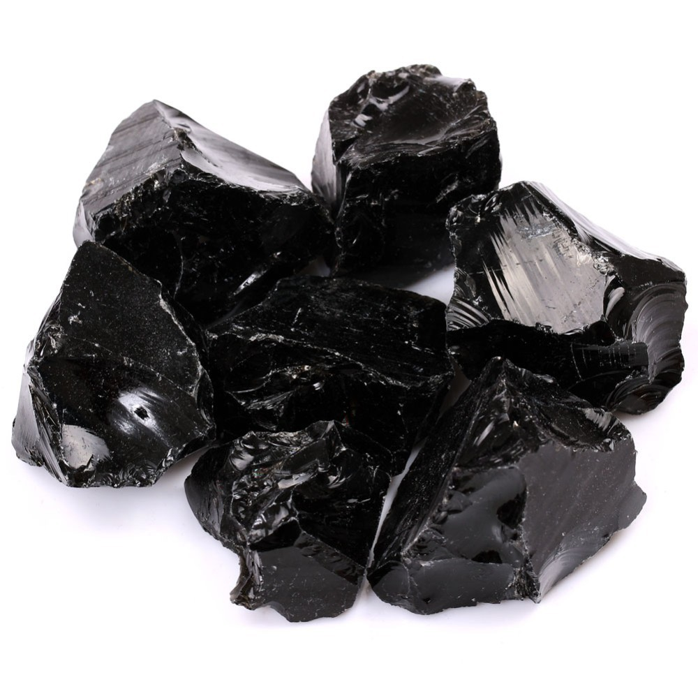 1 1/2lb Bulk Black Obsidian Quartz Ruwe/Rough Rock Stones Crystals  Metaphysical Reiki Healing Free Pouch RS043 - us92