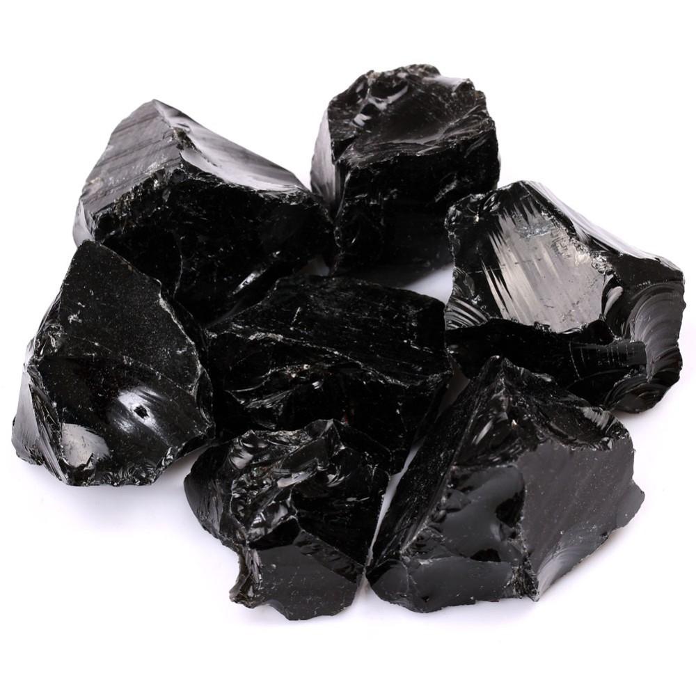1 1/2lb Bulk Black Obsidian Quartz Ruwe/Rough Rock Stones Crystals  Metaphysical Reiki Healing Free Pouch RS043   Us92
