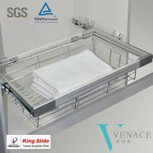 Closet pull out metal wire basket with Kingslide slide