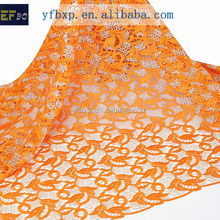 African lace styles 2015 fashion orange with gold guipure cord lace/Cupion lace fabric with stones